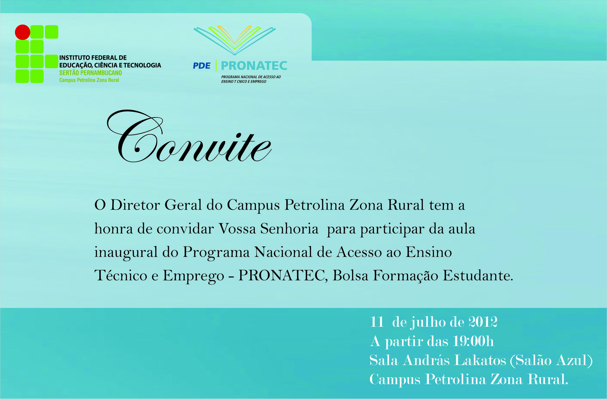Aulas inaugurais do PRONATEC acontecem no campus Petrolina Zona Rural